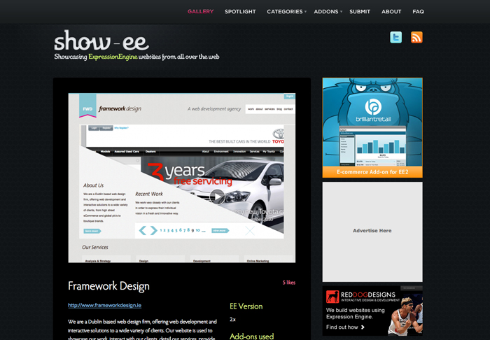 Framework Website Gets Featured on Show-EE