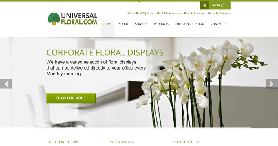 Universal Floral - Website Design