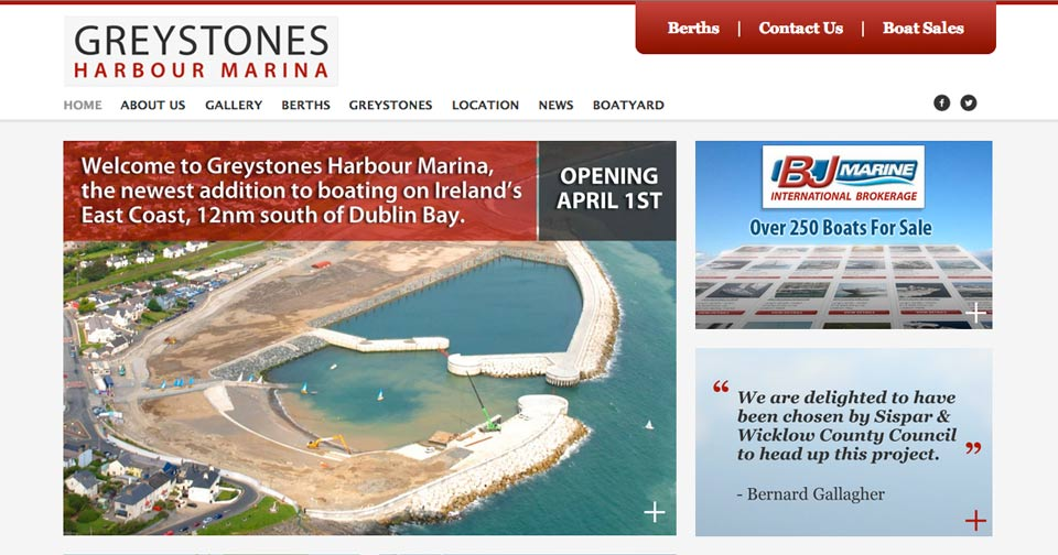 Greystones Harbour Marina - Website Design