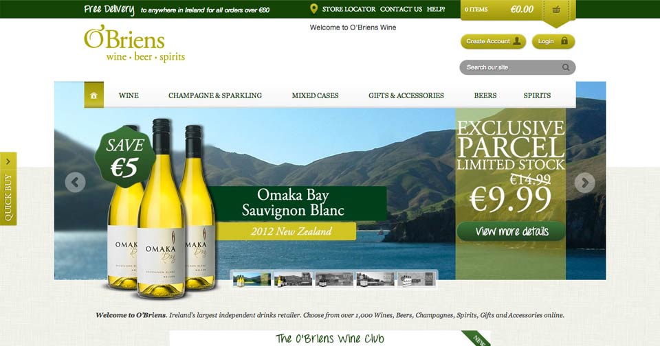O'Briens Wine - Website Design / Development