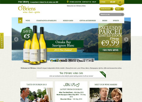 New eCommerce Site for O'Briens Wines